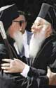 Metropolitan Arsenij welcoming Patriarch Bartholomaios in Plovdiv, Bulgaria, Sept. 06 2001
