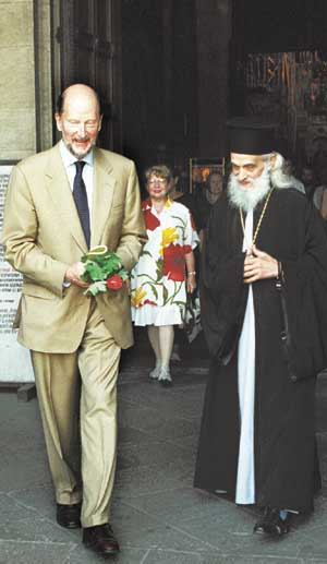 P.M. SIMEON and Bishop HILARION of Trajanopol leaving St.Alexander Nevski Cathedral